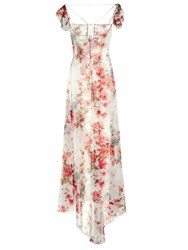 Saint Laurent Rose Print Georgette Gown White Multi