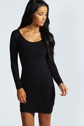 Boohoo Long Sleeve Scoop Neck Bodycon Dress Black