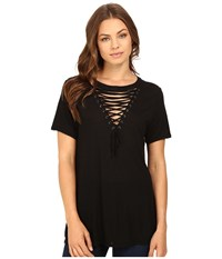 Brigitte Bailey Lucinda Lace Up Short Sleeve Top Black Women's Clothing