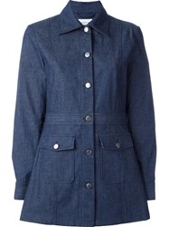 Wood Wood Fitted Denim Coat Blue
