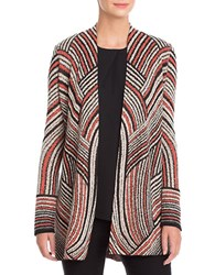 Nic Zoe Plus Abstract Patterned Long Sleeve Cardigan Brown White Multi
