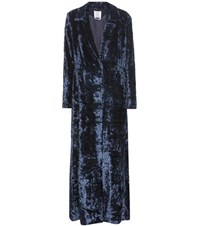 Rosie Assoulin Duster Velvet Coat Blue