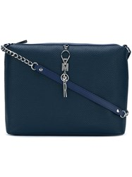 Armani Jeans Ribbed Cross Body Bag Blue