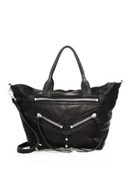 Botkier New York Trigger Convertible Leather Satchel Black