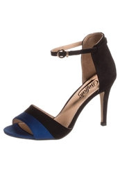 Buffalo High Heeled Sandals Suede Black Navy