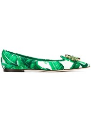 Dolce And Gabbana Embellished Tropical Print Ballerinas Green