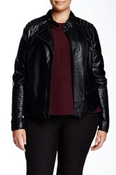 Mynt 1792 Alexa Faux Leather Moto Jacket Plus Size Black