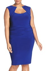 Marina Plus Size Women's Embellished Shirred Stretch Jersey Sheath Dress