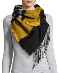Neiman Marcus Multi Striped Knit Scarf Gold Black