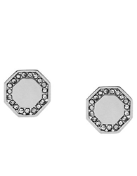Louise Et Cie Silver Tone And Crystal Stud Earrings