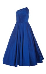 Romona Keveza Silk Shantung Taffeta Tea Length Dress Blue