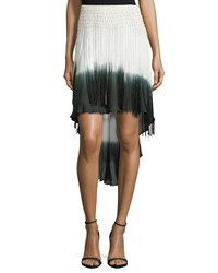 Haute Hippie Ombre High Low Skirt W Fringe Buff Swan Dark Military
