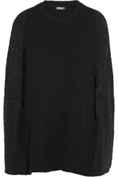 Dkny Boucle Paneled Ribbed Wool Blend Poncho Black