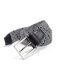 Saks Fifth Avenue Two Toned Elastic And Leather Belt Navy White