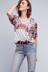 Anthropologie Flora And Fauna Tee Red Motif