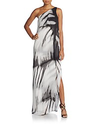 Halston One Shoulder Printed Chiffon Gown Abstract Black