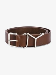 Y Project Logo Leather Belt Brown Silver Green Blue Denim
