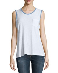 James Perse Ringer Contrast Trim Knit Tank White Heaven Pigment