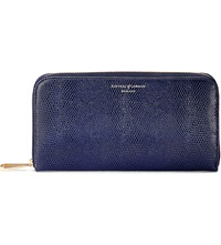 Aspinal Of London Continental Leather Zip Around Wallet Navy