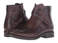 Frye Stone Cross Strap Dark Brown Smooth Pull Up Men's Pull On Boots