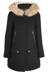 J.Crew Chateau Faux Fur Trimmed Wool Blend Coat Black