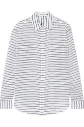 Elizabeth And James Emmanuelle Striped Gauze Shirt White