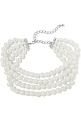 Kenneth Jay Lane Silver Plated Faux Pearl Choker Silver White