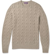 Ralph Lauren Purple Label Cable Knit Cashmere Sweater Beige