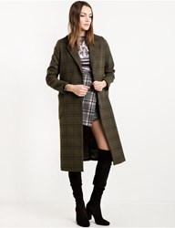 Pixie Market Olive Plaid Long Coat