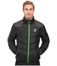 Spyder Geared Synthetic Down Jacket Black Polar Crosshatch Blade Men's Jacket