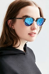 Urban Outfitters Kelly Half Frame Brow Bar Sunglasses Brown