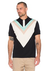 Fred Perry X Raf Simons Wide Chevron Pique Polo Black