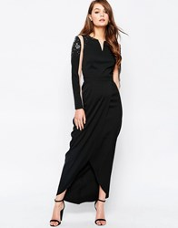 Little Mistress Mesh Crossover Maxi Dress Black