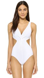 Karla Colletto V Neck Swimsuit White