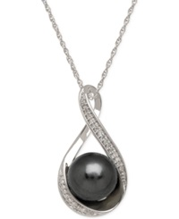 Macy's Cultured Tahitian Pearl 9Mm And Diamond Accent Pendant Necklace In 14K White Gold