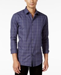Alfani Men's Big And Tall Classic Fit Long Sleeve Check Shirt Only At Macy's Shadow