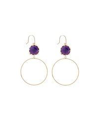 Small Sol Amethyst Dangle Hoop Earrings Lana