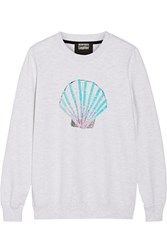 Markus Lupfer Shell Sequined Cotton Terry Sweatshirt Gray