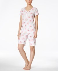 Charter Club Flower Print Bermuda Short Pajama Set Only At Macy's Ivory Florals