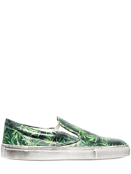 Gienchi Leaf Printed Nappa Leather Sneakers Green