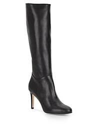 Saks Fifth Avenue Made In Italy Side Zip Leather Knee High Boots Black