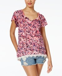 Self Esteem Juniors' Printed Flutter Sleeve Peasant Top Coral Blue Pink