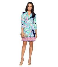 Lilly Pulitzer Margate Dress Bright Navy Dont Leave Me Hanging Women's Dress Multi