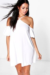 Boohoo Strappy High Neck Cold Shoulder Dress White
