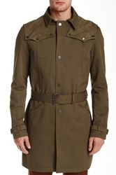 The Kooples Gabardine Goat Leather Trim Trench Coat Beige
