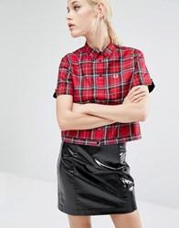 Fred Perry Amy Winehouse Foundation Tartan Bowling Shirt Autumn Red
