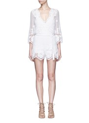 Miguelina 'Greta' Scalloped Lace Rompers White