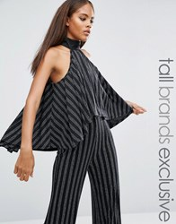 Naanaa Tall High Neck Layered Ruffle Crop Top In Glitter Stripe Black Silver