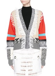 Toga Archives Fringe Mix Cotton Intarsia Knit Cardigan Multi Colour
