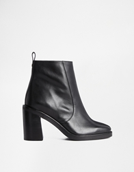 Faith Salta Black Leather Heeled Ankle Boots